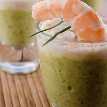ricetta Finger-soup di asparagi e gamberetti