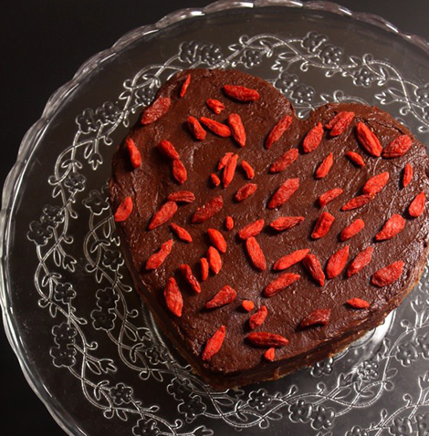 Raw Valentine's cake with cocoa and goji berries