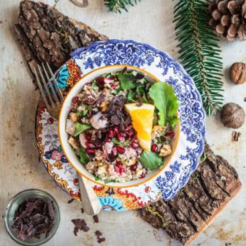 ricetta Insalata di bulghur con alga dulse, gamberi e melagrana