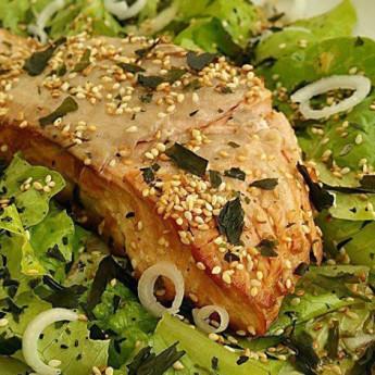 ricetta Salmone grigliato con insalata di alghe wakame