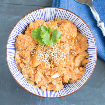 ricetta Strana zuppa di amaranto e zucca con sesamo